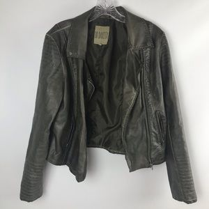 Moto Jacket Olive Began Leather BB DAKOTA